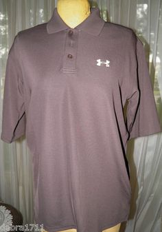 $39.99 Mens Under Armour Brown mens size SMALL short sleeve polo shirt