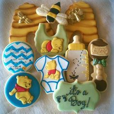 Winne The Pooh Baby Shower Cookies Will try to duplicate a few of these! Baby Party, Baby Shower Parties, Baby Shower Themes, Baby Boy Shower, Baby Shower Decorations, Shower Ideas, Baby Showers, Winne The Pooh, Winnie The Pooh Birthday