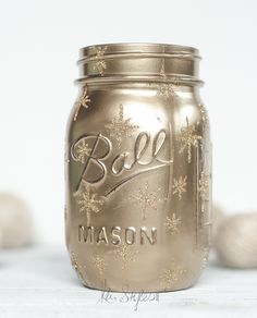 DIY gold twinkle star mason jar luminary for the holidays.