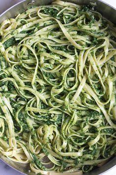 Lemony Pesto Pasta with Asparagus - Hip Foodie Mom