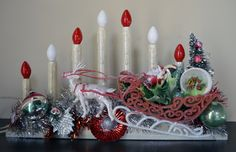 My granny dinky had the Santa sleigh Vintage Christmas Crafts, Antique Christmas, Retro Christmas, Xmas Crafts, Vintage Holiday, Christmas Projects, Christmas Holidays, Christmas Ideas, Rustic Christmas