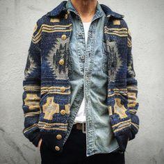 amazing Ralph Lauren southwestern style indigo cardigan -- rugged and relaxed menswear fall style + fashion