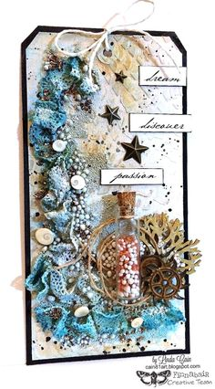 Hi there, folks! A new week ahead and I hope you have loads of creative plans and art adventures! After Kasia's gorgeous Denim Sea Sto. Mixed Media Canvas, Mixed Media Art, Mix Media, Arts And Crafts, Paper Crafts, Diy Crafts, Seashell Crafts, Beach Crafts, Art Ancien