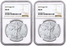 2018 1oz Silver Eagle NGC MS69 First Day Issue 2 Pack