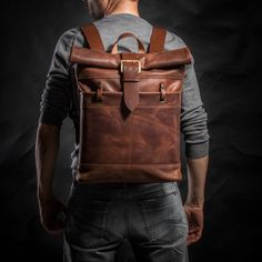 Roll top Backpack 2102 - original Backpacks by KrukGarage Atelier Leather Roll, Leather Men, Leather Jackets, Pink Leather, Crea Cuir, Top Backpacks, Brown Leather Backpack, Leather Bags Handmade, Leather Projects