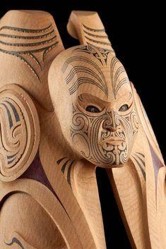 Karl Chitham reflects on the power of Māori mythology that Todd Couper is able to express in his carvings. Maori Face Tattoo, Maori Tattoos, Maori Tribe, Maori Symbols, Maori Patterns, Zealand Tattoo, Norse Runes, Maori Tattoo Designs, Nz Art