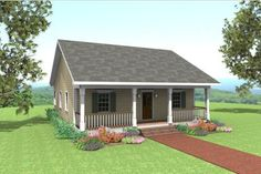 Country Style House Plan - 2 Beds 1 Baths 1007 Sq/Ft Plan #44-158 Exterior - Front Elevation - Houseplans.com