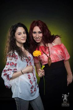 Nora and Catalina look happy and beautiful wearing the traditional Romanian Label blouse! International Day, Cool Pictures, Beautiful People, Kimono Top, Label, Traditional, Studio, Celebrities, Blouse