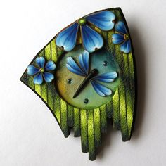 Blue Dragonfly Garden Pin, Polymer Clay Brooch Wearable Art by Claybykim on Etsy