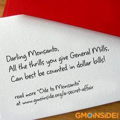 EXPOSED! Cheerios secret love affair with Monsanto! Read the full Cheerios loves Monsanto poem here and repost! http://gmoinside.org/a-secret-affair
