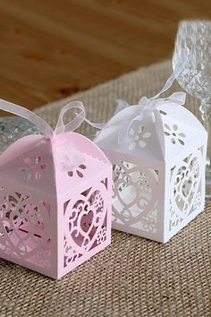 48pcs+Laser+Cut+Favor+Boxes+with+Ribbon-Pink+Candy+by+LingsWedding