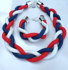Jewellery Rope Jewelry, Jewelry Sets, Diy Jewelry, Jewelery, Handmade Jewelry, Knitted Necklace, Fabric Necklace, Knot Necklace, Macrame Headband