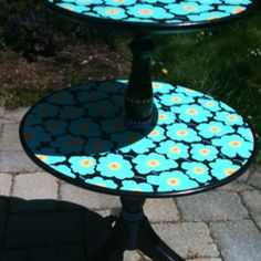Two-tiered table inspired by a Marimeko pattern