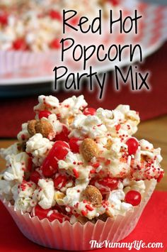 Red Hot Popcorn Party Mix -- for red hot sports teams (GO CARDINALS!), your red hot love on anniversaries or Valentine's Day, or a firecracker party mix for the 4th of July.  www.theyummylife.com/red_hot_popcorn_party_mix
