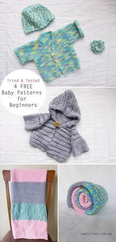 Free crochet and knitting baby patterns for beginners (cardigan, hoodie, blanket and hat).