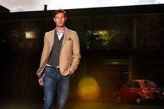 Tan blazer with dark grey waistcoat and denin blue jeans by Guide London Olympia London, Tan Blazer, Aw17, Dark Grey, Blue Jeans, Fashion Brands, Menswear, Mens Fashion, Pure Products