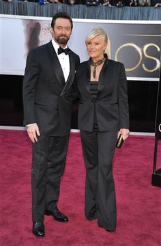 Actor Hugh Jackman and Deborra-Lee Furness arrive at the Oscars at the Dolby Theatre on Sunday Feb. 24, 2013, in Los Angeles.