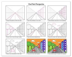 One Point Perspective · Art Projects for Kids Art Lessons For Kids, Art Lessons Elementary, Art For Kids, One Point Perspective, Perspective Art, Art Education Projects, School Art Projects, 5th Grade Art, Art Worksheets
