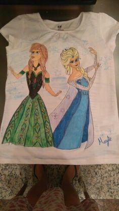 Frozen,  camiseta pintada a mano.
