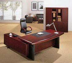 Executive Office Desk Designs From Wood Office Table Design, Office Furniture Design, Office Interior Design, Office Interiors, Home Interior, Design Interiors, Furniture Ideas, Home Goods Chairs, Cool Office Desk