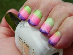 Gradient Nails! FUN COLORS! #gradient nails #pinknails #greennails #sinfulcolors Get more amazing gradient nail looks at http://bellashoot.com!