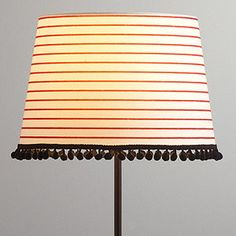 Red Stripes & Pom Pom Accent Lamp Shade | World Market