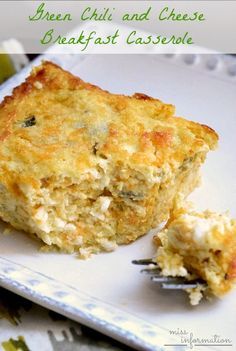 Green Chili and Cheese Breakfast Casserole - this breakfast recipe has lot's of flavor a light texture and so yummy!