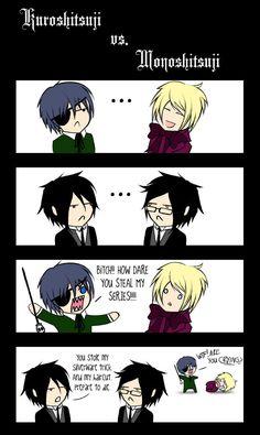 Kuroshitsuji vs. Monoshitsuji. Not sure if Ciel's or Sebastian's reaction is funnier XD
