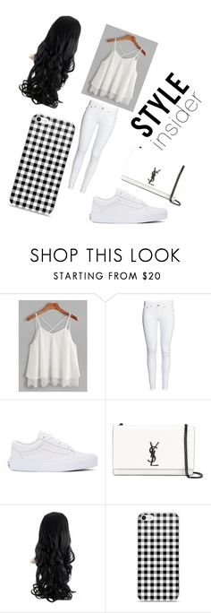 """#white"" by viki-pokorna ❤ liked on Polyvore featuring H&M, Vans and Yves Saint Laurent"