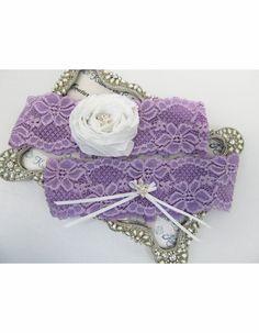 Gorgeous Radiant Orchid Bridal Garter Set