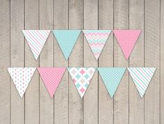 Instant Download - Candy Princess Party Bunting Banner Flags - DIY Printable Bright and Baby Blue Party Decorations