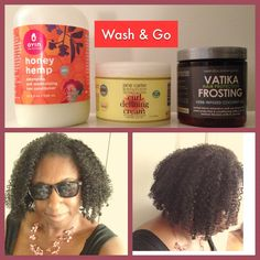 Wash & Go - The Remix: 1) Oyin Honey Hemp for the leave in 2) Jane Carter Curl Defining Cream applied on top of leave in 3) Hairveda Vatika Frosting (coconut oil) applied to hair to seal. What worked for me: No shampoo, cowash only. Apply Oyin and Jane Carter in the shower to drippy wet hair in sections and rake through. Apply oil out of the shower and use clips or pins to style if desired. No towels. Do not touch hair after this. Air dry. Pineapple at night. The pics are 2nd day hair.
