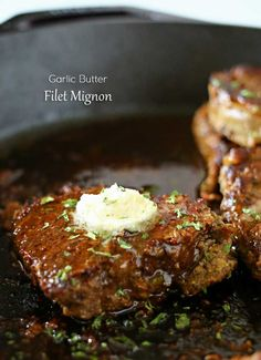 Garlic Butter Filet Mignon - Smothered in garlic butter, it melts in your mouth. A great easy family dinner idea. on kleinworthco.com