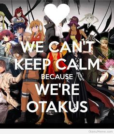 We can't keep clam because we're OTAKUS. I love staying home, and relaxing. I always playing video games, watching animes, watching movie, listening to music, and read novel online at home. Sometimes it's good to be a otakus, no one will bother you. It is totally your kingdom, your space.