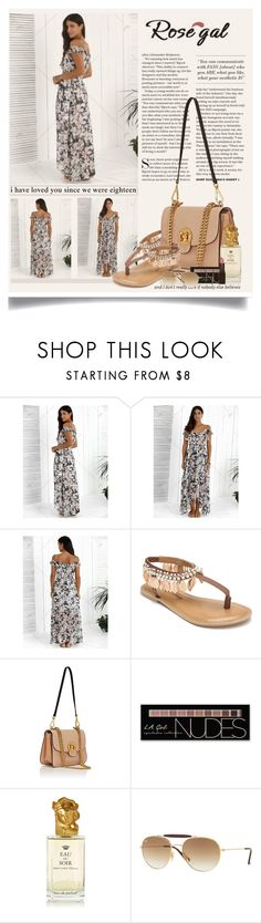 """""""Asymmetric High Slit Floral Print Maxi Dress"""" by manuela-cdl ❤ liked on Polyvore featuring Penny Loves Kenny, Chloé, Charlotte Russe, Sisley, Ray-Ban, Laura Mercier and polyvoreeditorial"""