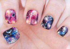 Não Perca!l Uma galáxia em suas mãos. Como fazer as unhas decoradas cósmicas - # #desenhosnasunhas #pintarasunhas