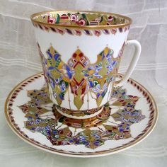 Russian Imperial Porcelain Lomonosov Fine China Teacup - Arabesque