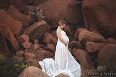Ingrid lace maternity gown with split front - Design by C Boutique