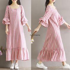 Korean Women Cotton Linen Shift Casual Loose Summer Tunic Robe Maxi Long Dress