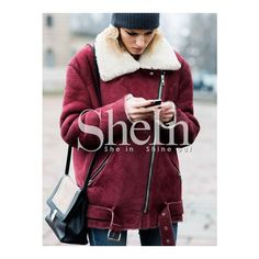 SheIn(sheinside) Wine Red Long Sleeve Lapel Quilted Zipper Coat (€29) ❤ liked on Polyvore featuring outerwear, coats, burgundy, parka coats, red coat, red parka coat, burgundy coat and cropped coat