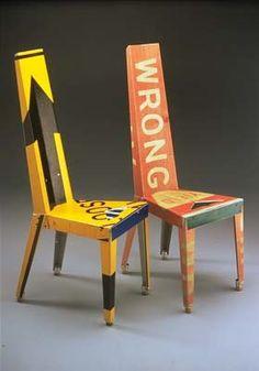 f30 c Re used traffic signs furniture in metals furniture  with traffic signs Table Furniture Chair Bin