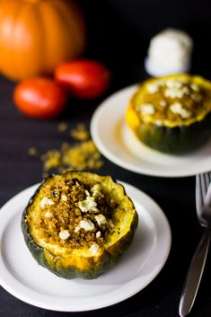This Quinoa, Goat Cheese and Sun dried Tomato Stuffed Brown Butter Acorn Squash is healthy, delicious and loaded with flavour!