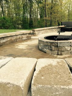 Fire pit and patio with seat wall -Rall