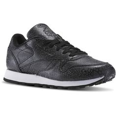 Reebok Classic Leather Reflective (£96) ❤ liked on Polyvore featuring shoes, leather shoes, animal print shoes, real leather shoes, black shoes and kohl shoes