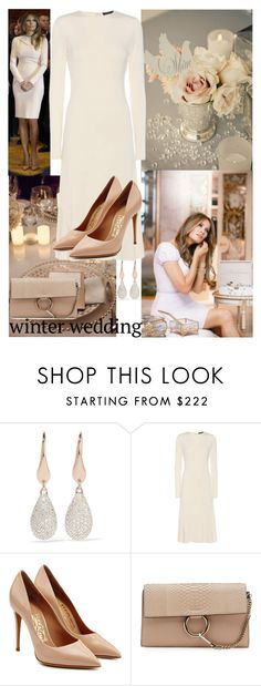 """True Romance:  Winter Wedding"" by ann-kelley14 on Polyvore featuring Monica Vinader, Trump Home, Polo Ralph Lauren, Salvatore Ferragamo, Chloé and winterwedding"