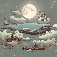 """Ocean Meets Sky"" Art Print by Terry Fan on Society6."