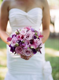 Bridal bouquet in shades of purples and lavenders - Roses, Calla Lilies, Lisianthus, Orchids, Veronica - by Heather Murdock of The Blue Orchid (image by Silvana Di Franco)