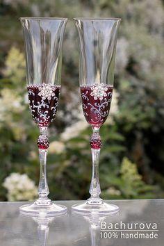 Svatební přípitkové skleničky Flute, Champagne, Tableware, Handmade, Dinnerware, Hand Made, Tablewares, Flutes, Dishes