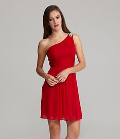 Hailey by Adrianna Papell One-Shoulder Embellished Dress | Dillard's Mobile