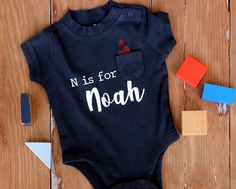 Personalized boys bodysuit, infant name bodysuit, baby boys top, is for personalized baby boy gifts, baby shower, new baby boy clothes, gift New Baby Boys, Baby Baby, Girls Quilts, Boys Wear, Baby Boy Gifts, Personalized Baby, Baby Boy Outfits, New Baby Products